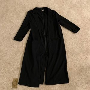 H&M long lightweight black jacket, size 10